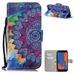 Oil Painting Mandala 3D Painted Leather Wallet Phone Case for Samsung Galaxy J4 (2018) SM-J400F