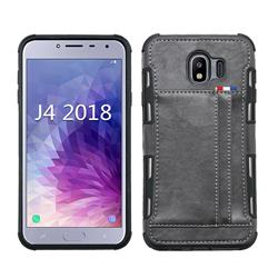 Luxury Shatter-resistant Leather Coated Card Phone Case for Samsung Galaxy J4 (2018) SM-J400F - Gray