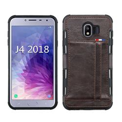 Luxury Shatter-resistant Leather Coated Card Phone Case for Samsung Galaxy J4 (2018) SM-J400F - Coffee