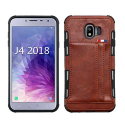 Luxury Shatter-resistant Leather Coated Card Phone Case for Samsung Galaxy J4 (2018) SM-J400F - Brown