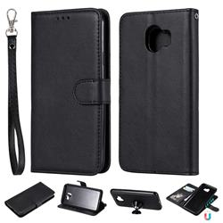 Retro Greek Detachable Magnetic PU Leather Wallet Phone Case for Samsung Galaxy J4 (2018) SM-J400F - Black