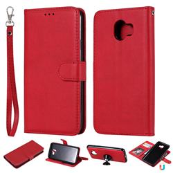 Retro Greek Detachable Magnetic PU Leather Wallet Phone Case for Samsung Galaxy J4 (2018) SM-J400F - Red