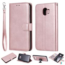 Retro Greek Detachable Magnetic PU Leather Wallet Phone Case for Samsung Galaxy J4 (2018) SM-J400F - Rose Gold