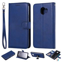 Retro Greek Detachable Magnetic PU Leather Wallet Phone Case for Samsung Galaxy J4 (2018) SM-J400F - Blue