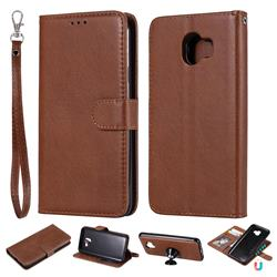 Retro Greek Detachable Magnetic PU Leather Wallet Phone Case for Samsung Galaxy J4 (2018) SM-J400F - Brown