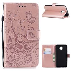 Intricate Embossing Butterfly Circle Leather Wallet Case for Samsung Galaxy J4 (2018) SM-J400F - Rose Gold