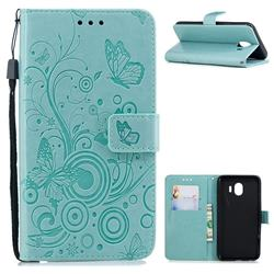 Intricate Embossing Butterfly Circle Leather Wallet Case for Samsung Galaxy J4 (2018) SM-J400F - Cyan