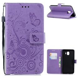 Intricate Embossing Butterfly Circle Leather Wallet Case for Samsung Galaxy J4 (2018) SM-J400F - Purple