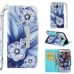 Button Flower Big Metal Buckle PU Leather Wallet Phone Case for Samsung Galaxy J4 (2018) SM-J400F