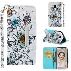 Fotus Flower Big Metal Buckle PU Leather Wallet Phone Case for Samsung Galaxy J4 (2018) SM-J400F