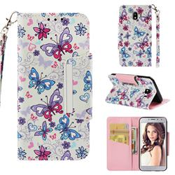 Colored Butterfly Big Metal Buckle PU Leather Wallet Phone Case for Samsung Galaxy J4 (2018) SM-J400F