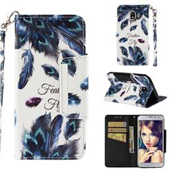 Peacock Feather Big Metal Buckle PU Leather Wallet Phone Case for Samsung Galaxy J4 (2018) SM-J400F