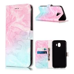 Pink Green Marble PU Leather Wallet Case for Samsung Galaxy J4 (2018) SM-J400F