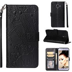 Embossing Fireworks Elephant Leather Wallet Case for Samsung Galaxy J4 (2018) SM-J400F - Black