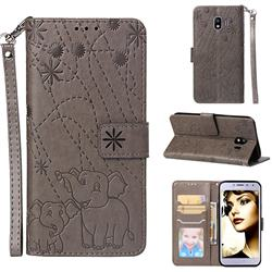 Embossing Fireworks Elephant Leather Wallet Case for Samsung Galaxy J4 (2018) SM-J400F - Gray