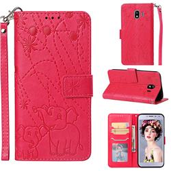 Embossing Fireworks Elephant Leather Wallet Case for Samsung Galaxy J4 (2018) SM-J400F - Red