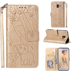 Embossing Fireworks Elephant Leather Wallet Case for Samsung Galaxy J4 (2018) SM-J400F - Golden