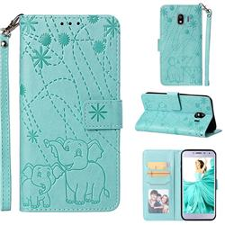 Embossing Fireworks Elephant Leather Wallet Case for Samsung Galaxy J4 (2018) SM-J400F - Green