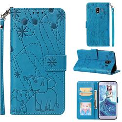 Embossing Fireworks Elephant Leather Wallet Case for Samsung Galaxy J4 (2018) SM-J400F - Blue