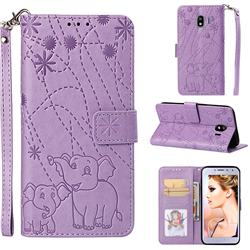 Embossing Fireworks Elephant Leather Wallet Case for Samsung Galaxy J4 (2018) SM-J400F - Purple
