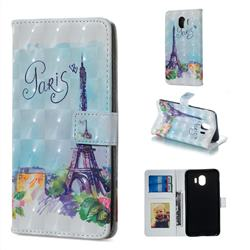 Paris Tower 3D Painted Leather Phone Wallet Case for Samsung Galaxy J4 (2018) SM-J400F