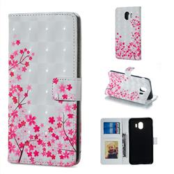 Cherry Blossom 3D Painted Leather Phone Wallet Case for Samsung Galaxy J4 (2018) SM-J400F