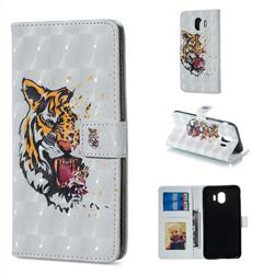 Toothed Tiger 3D Painted Leather Phone Wallet Case for Samsung Galaxy J4 (2018) SM-J400F