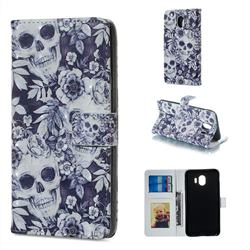 Skull Flower 3D Painted Leather Phone Wallet Case for Samsung Galaxy J4 (2018) SM-J400F