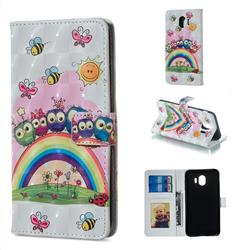 Rainbow Owl Family 3D Painted Leather Phone Wallet Case for Samsung Galaxy J4 (2018) SM-J400F