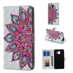 Mandara Flower 3D Painted Leather Phone Wallet Case for Samsung Galaxy J4 (2018) SM-J400F