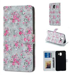 Roses Flower 3D Painted Leather Phone Wallet Case for Samsung Galaxy J4 (2018) SM-J400F