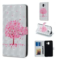Sakura Flower Tree 3D Painted Leather Phone Wallet Case for Samsung Galaxy J4 (2018) SM-J400F