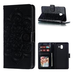 Intricate Embossing Datura Solar Leather Wallet Case for Samsung Galaxy J4 (2018) SM-J400F - Black