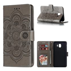 Intricate Embossing Datura Solar Leather Wallet Case for Samsung Galaxy J4 (2018) SM-J400F - Gray