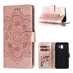 Intricate Embossing Datura Solar Leather Wallet Case for Samsung Galaxy J4 (2018) SM-J400F - Rose Gold