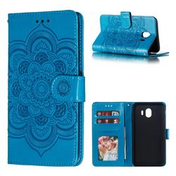 Intricate Embossing Datura Solar Leather Wallet Case for Samsung Galaxy J4 (2018) SM-J400F - Blue