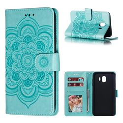 Intricate Embossing Datura Solar Leather Wallet Case for Samsung Galaxy J4 (2018) SM-J400F - Green