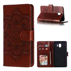 Intricate Embossing Datura Solar Leather Wallet Case for Samsung Galaxy J4 (2018) SM-J400F - Brown