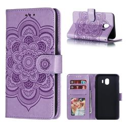 Intricate Embossing Datura Solar Leather Wallet Case for Samsung Galaxy J4 (2018) SM-J400F - Purple