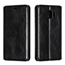 Retro Slim Magnetic Crazy Horse PU Leather Wallet Case for Samsung Galaxy J4 (2018) SM-J400F - Black