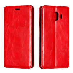 Retro Slim Magnetic Crazy Horse PU Leather Wallet Case for Samsung Galaxy J4 (2018) SM-J400F - Red