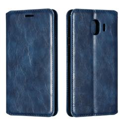 Retro Slim Magnetic Crazy Horse PU Leather Wallet Case for Samsung Galaxy J4 (2018) SM-J400F - Blue