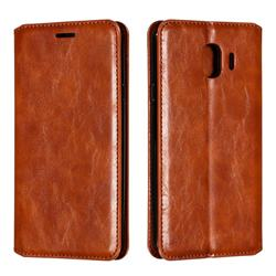 Retro Slim Magnetic Crazy Horse PU Leather Wallet Case for Samsung Galaxy J4 (2018) SM-J400F - Brown