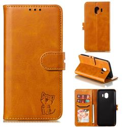 Embossing Happy Cat Leather Wallet Case for Samsung Galaxy J4 (2018) SM-J400F - Yellow