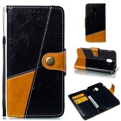 Retro Magnetic Stitching Wallet Flip Cover for Samsung Galaxy J4 (2018) SM-J400F - Black