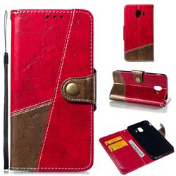Retro Magnetic Stitching Wallet Flip Cover for Samsung Galaxy J4 (2018) SM-J400F - Rose Red