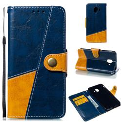 Retro Magnetic Stitching Wallet Flip Cover for Samsung Galaxy J4 (2018) SM-J400F - Blue