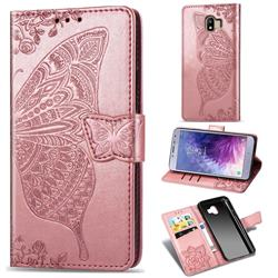 Embossing Mandala Flower Butterfly Leather Wallet Case for Samsung Galaxy J4 (2018) SM-J400F - Rose Gold