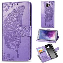 Embossing Mandala Flower Butterfly Leather Wallet Case for Samsung Galaxy J4 (2018) SM-J400F - Light Purple