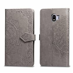 Embossing Imprint Mandala Flower Leather Wallet Case for Samsung Galaxy J4 (2018) SM-J400F - Gray
